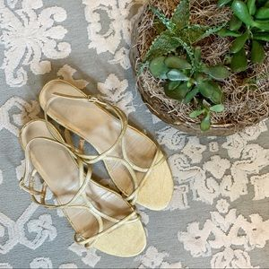 Stuart Weitzman Pale Gold Strappy Sandals 7.5